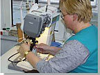 Highly skilled and experienced staff sew individual parts with precision